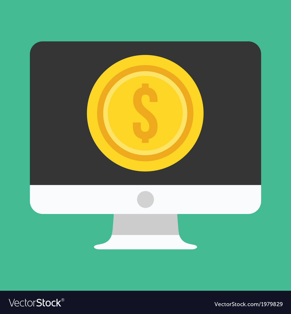 Computer display and gold coin dollar icon vector | Price: 1 Credit (USD $1)
