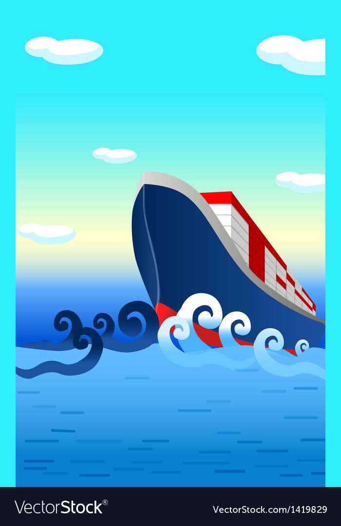 Container ship ocean vector | Price: 1 Credit (USD $1)