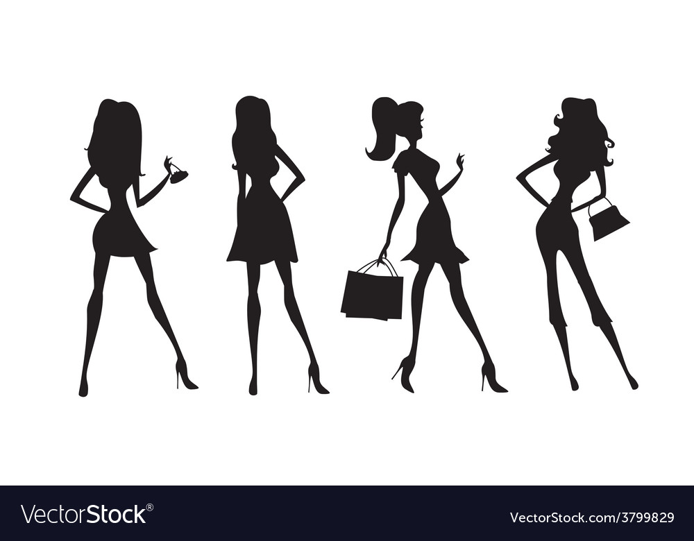 Fashion shopping girls silhouettes vector | Price: 1 Credit (USD $1)