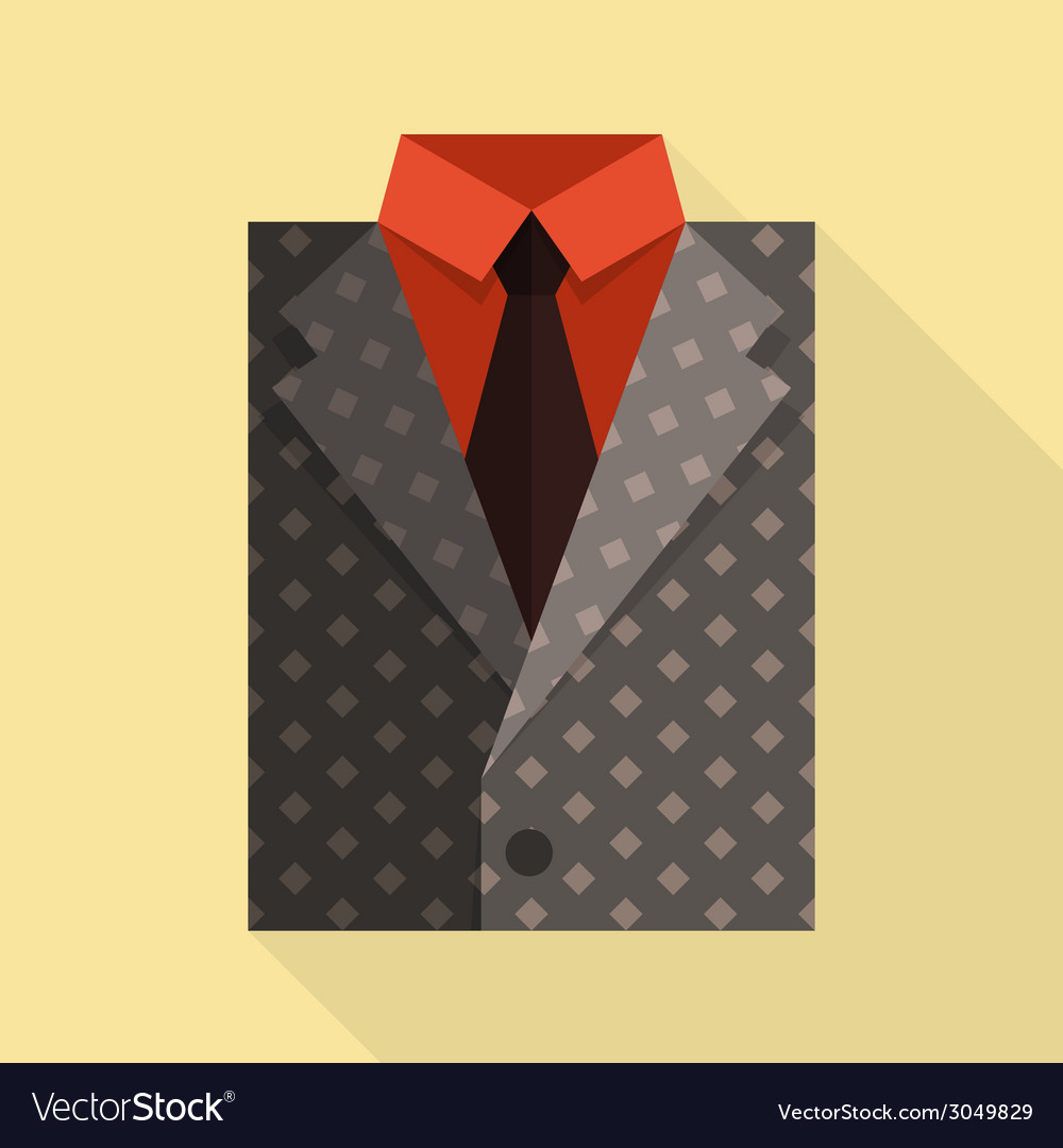 Flat business jacket and tie gray color vector | Price: 1 Credit (USD $1)