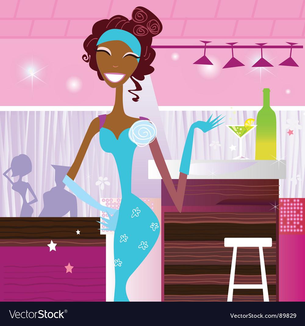 Girl in bar vector | Price: 3 Credit (USD $3)