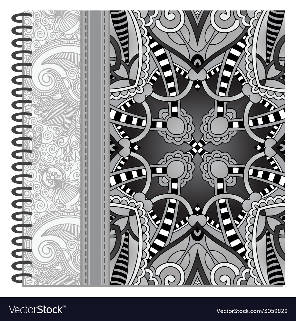 Grey design of spiral ornamental notebook cover vector | Price: 1 Credit (USD $1)