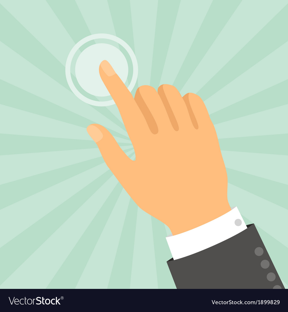 Hand touching finger in flat design style vector | Price: 1 Credit (USD $1)