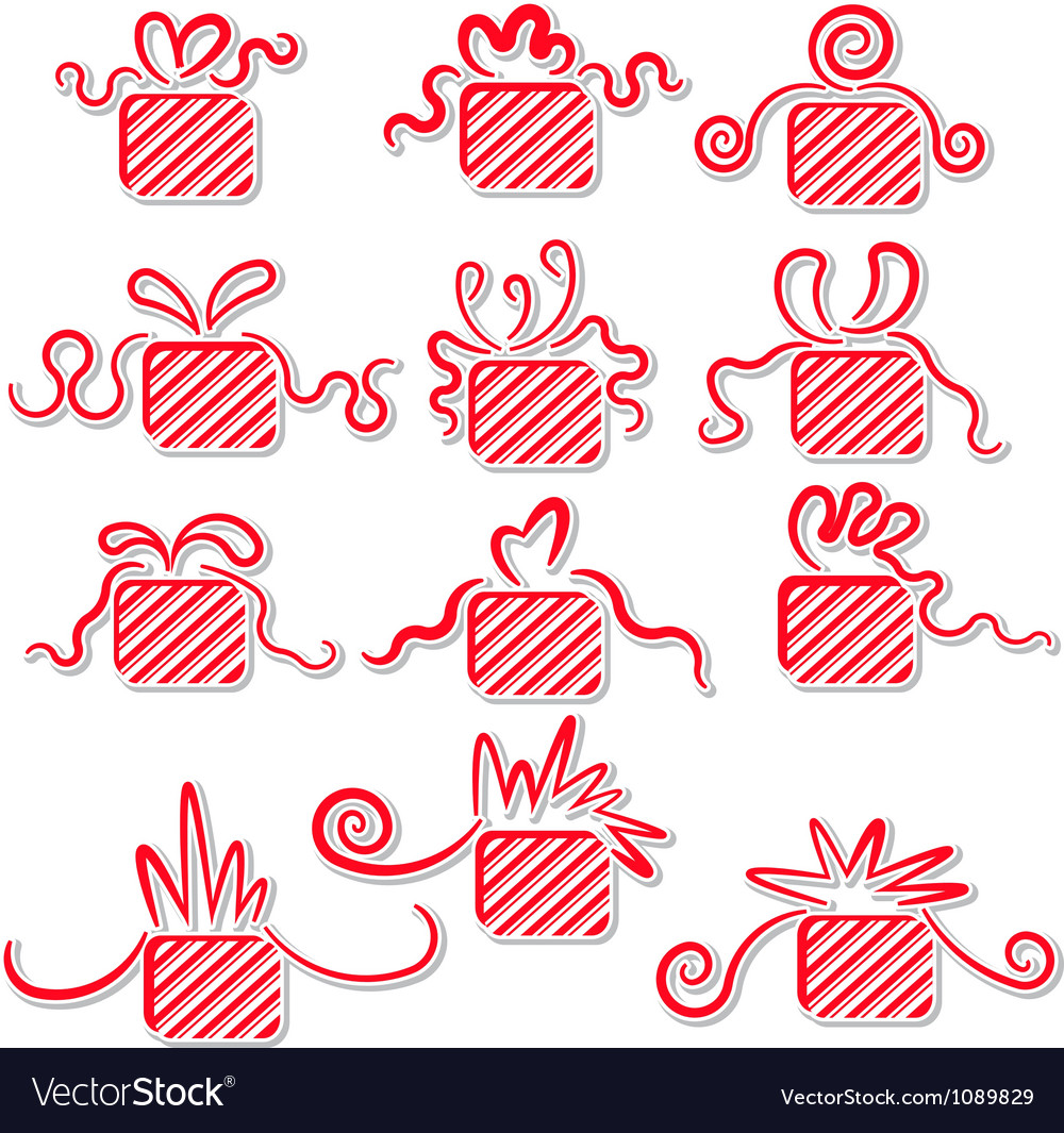 Holiday gifts with ribbons vector | Price: 1 Credit (USD $1)