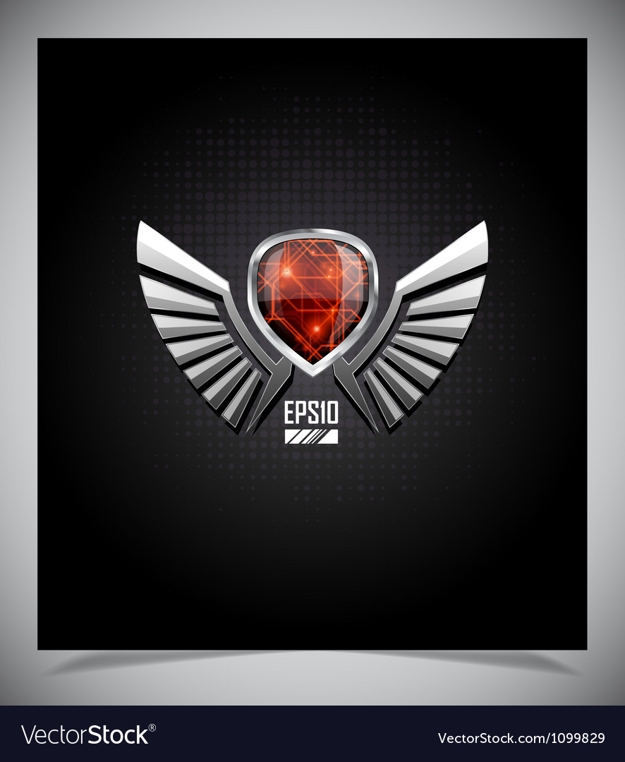 Metal shield emblem with wings vector | Price: 1 Credit (USD $1)