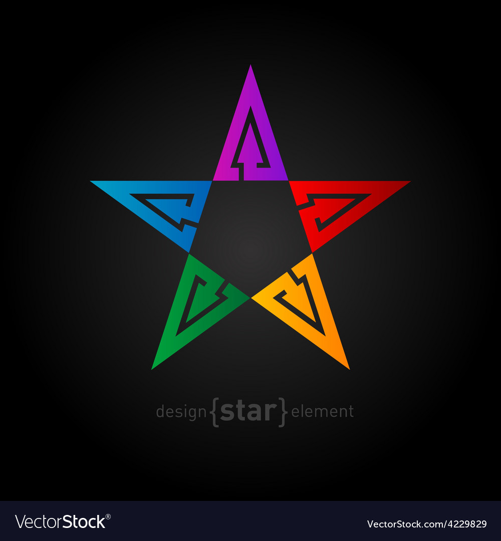 Rainbow star abstract design element with arrows vector | Price: 1 Credit (USD $1)
