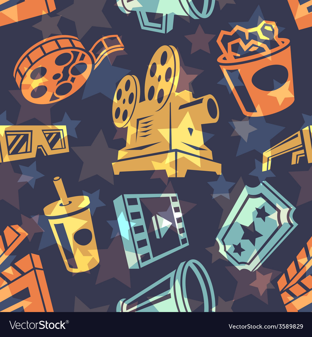 Seamless pattern with cinema icons vector | Price: 1 Credit (USD $1)