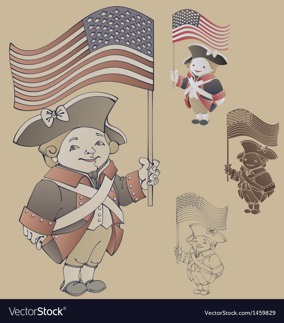 Smiley character in american independence war vector | Price: 1 Credit (USD $1)