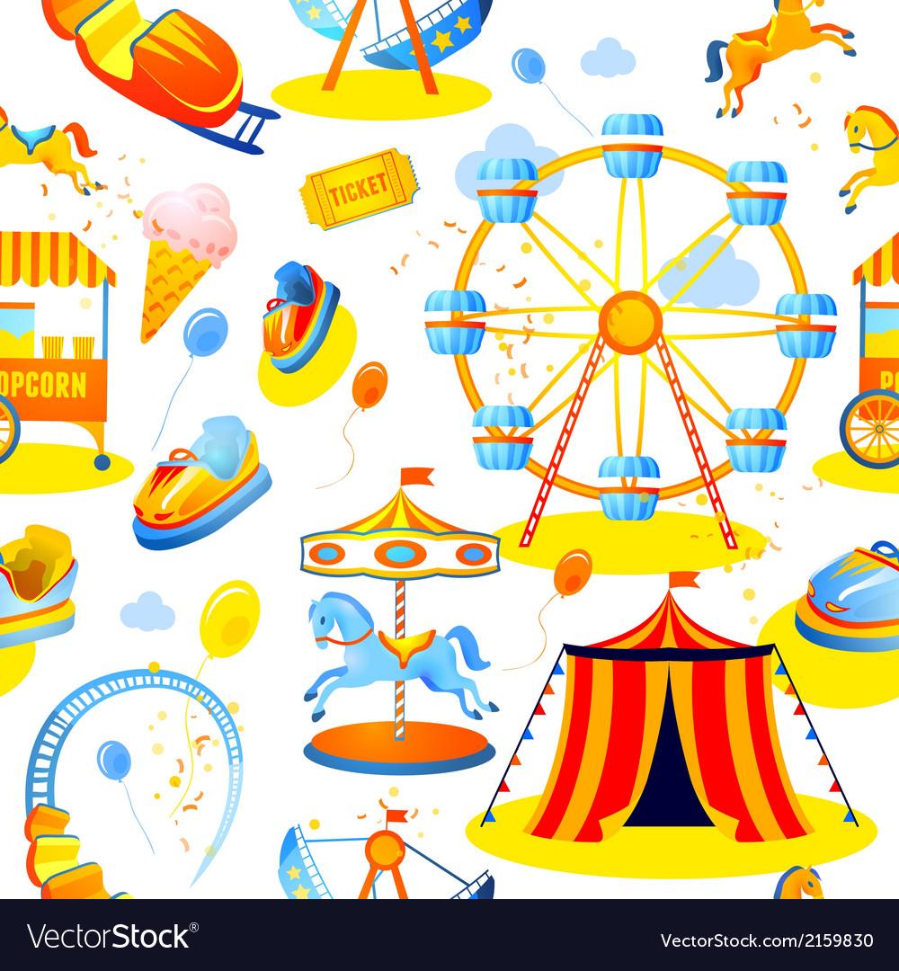Amusement park seamless pattern vector | Price: 1 Credit (USD $1)