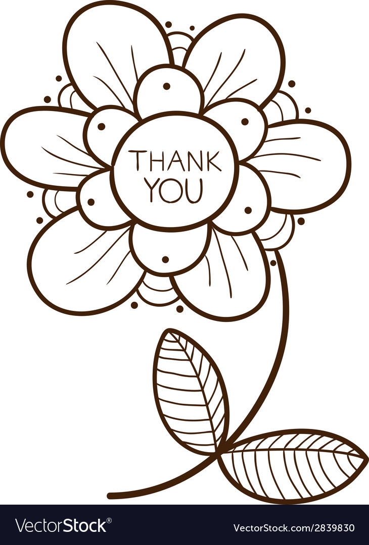 Flower with thank you text vector | Price: 1 Credit (USD $1)