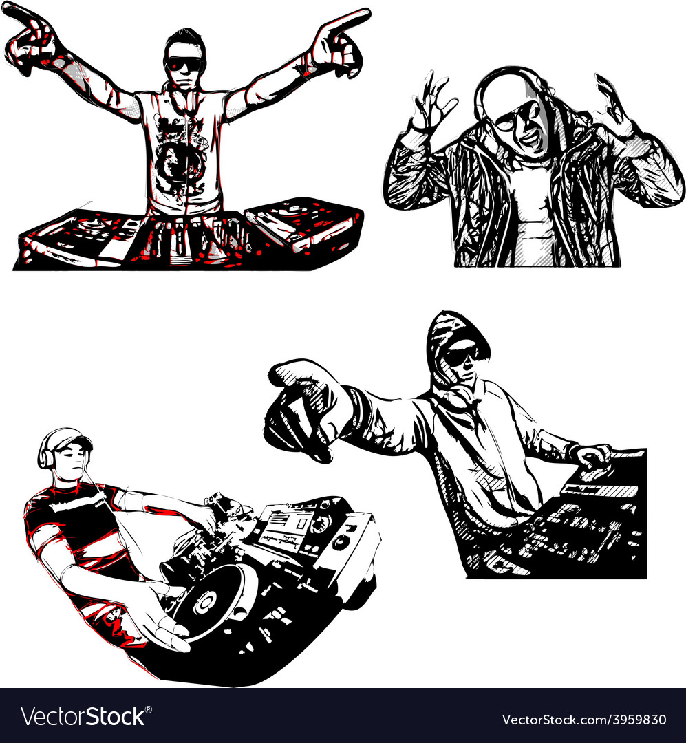 Four disc jockeys vector | Price: 1 Credit (USD $1)