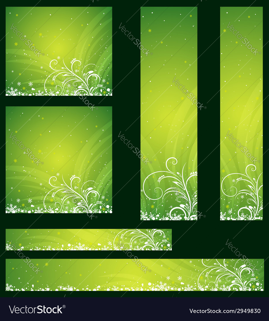 Green christmas banners with snowflakes vector | Price: 1 Credit (USD $1)