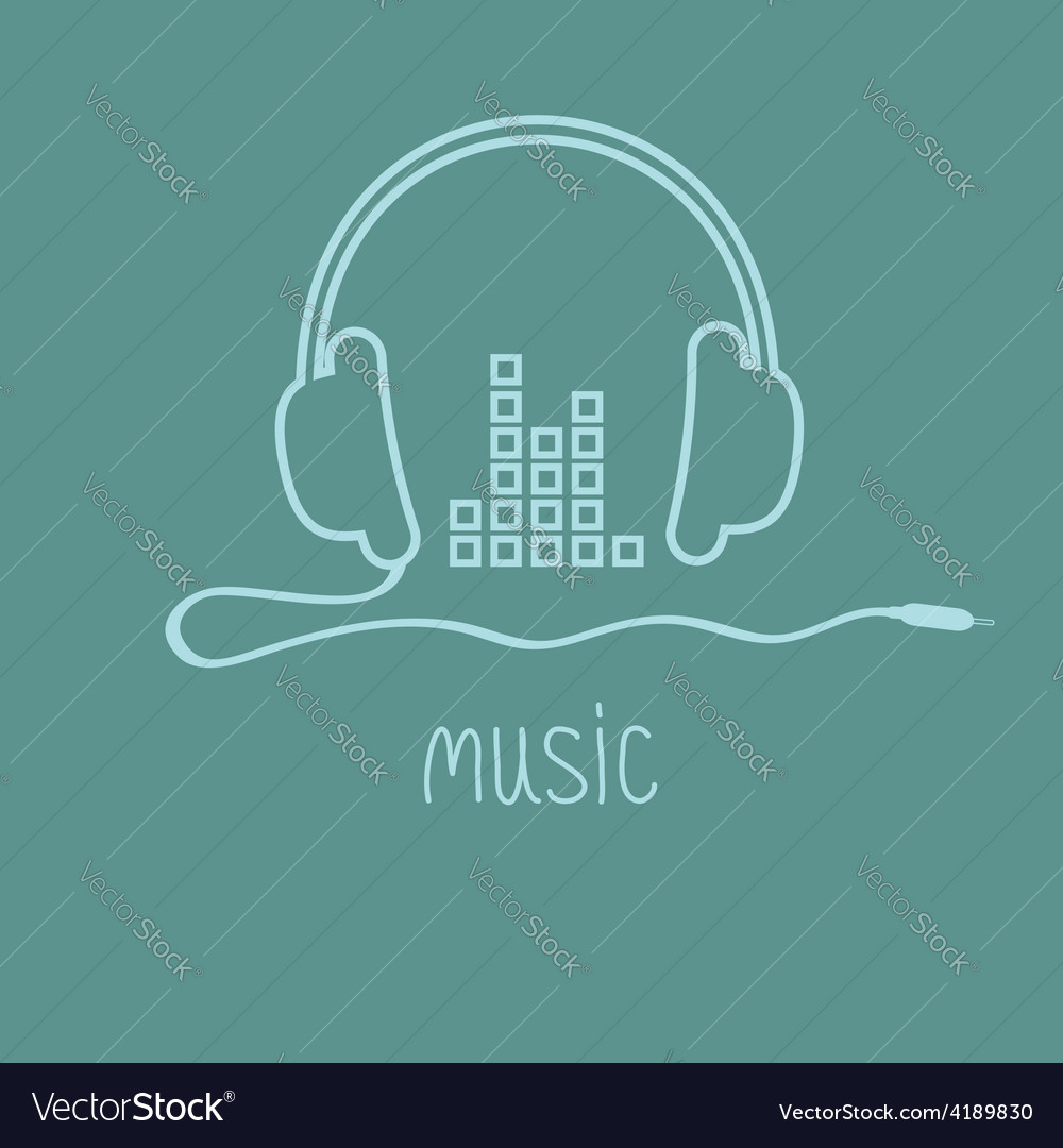 Headphones with cord and equalizer word music vector | Price: 1 Credit (USD $1)