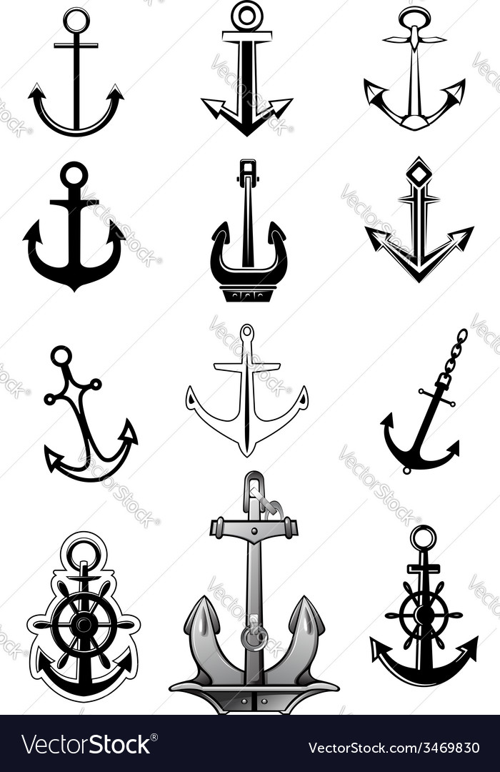 Modern and vintage anchor icons vector | Price: 1 Credit (USD $1)
