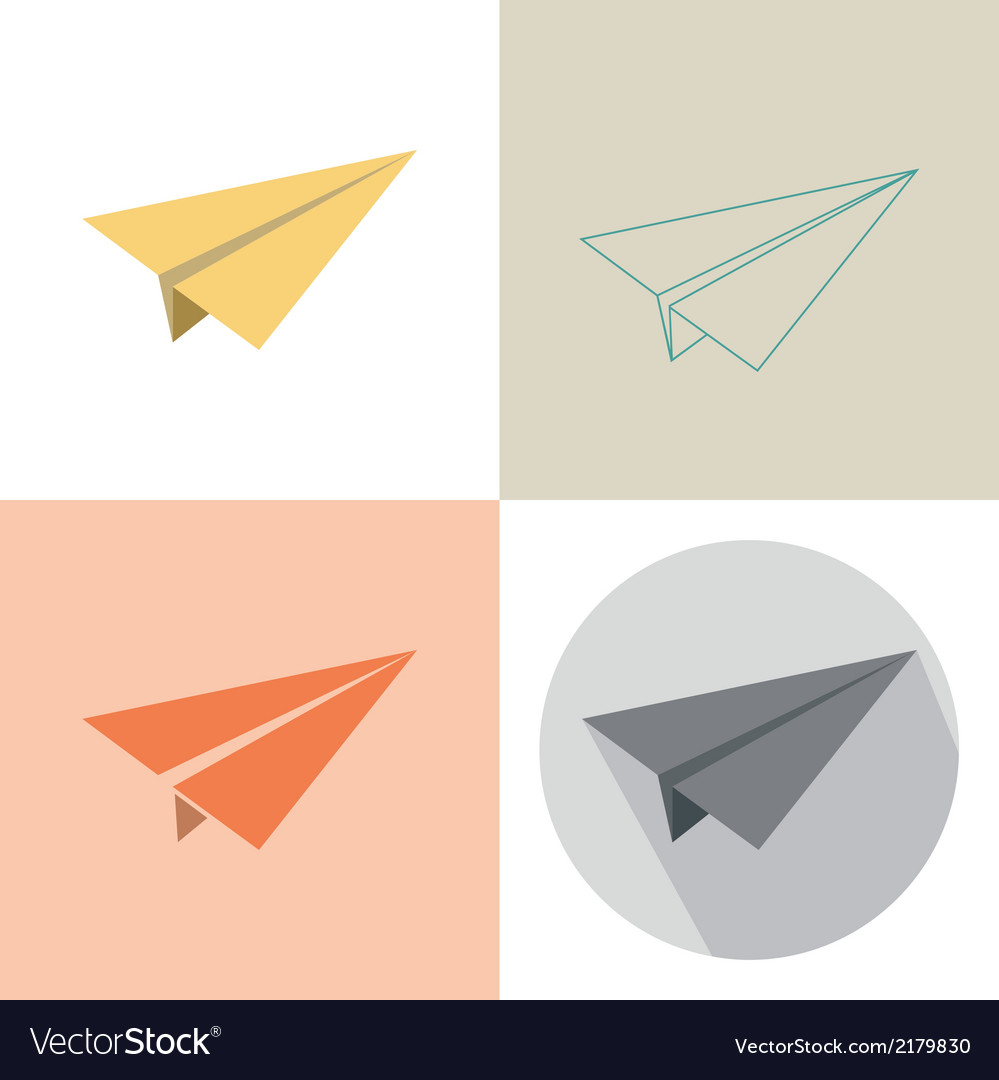 Paper plane in four design vector | Price: 1 Credit (USD $1)