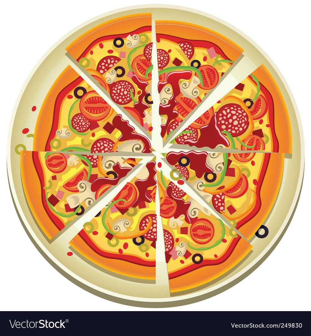 Pizza slices on the plate vector | Price: 3 Credit (USD $3)