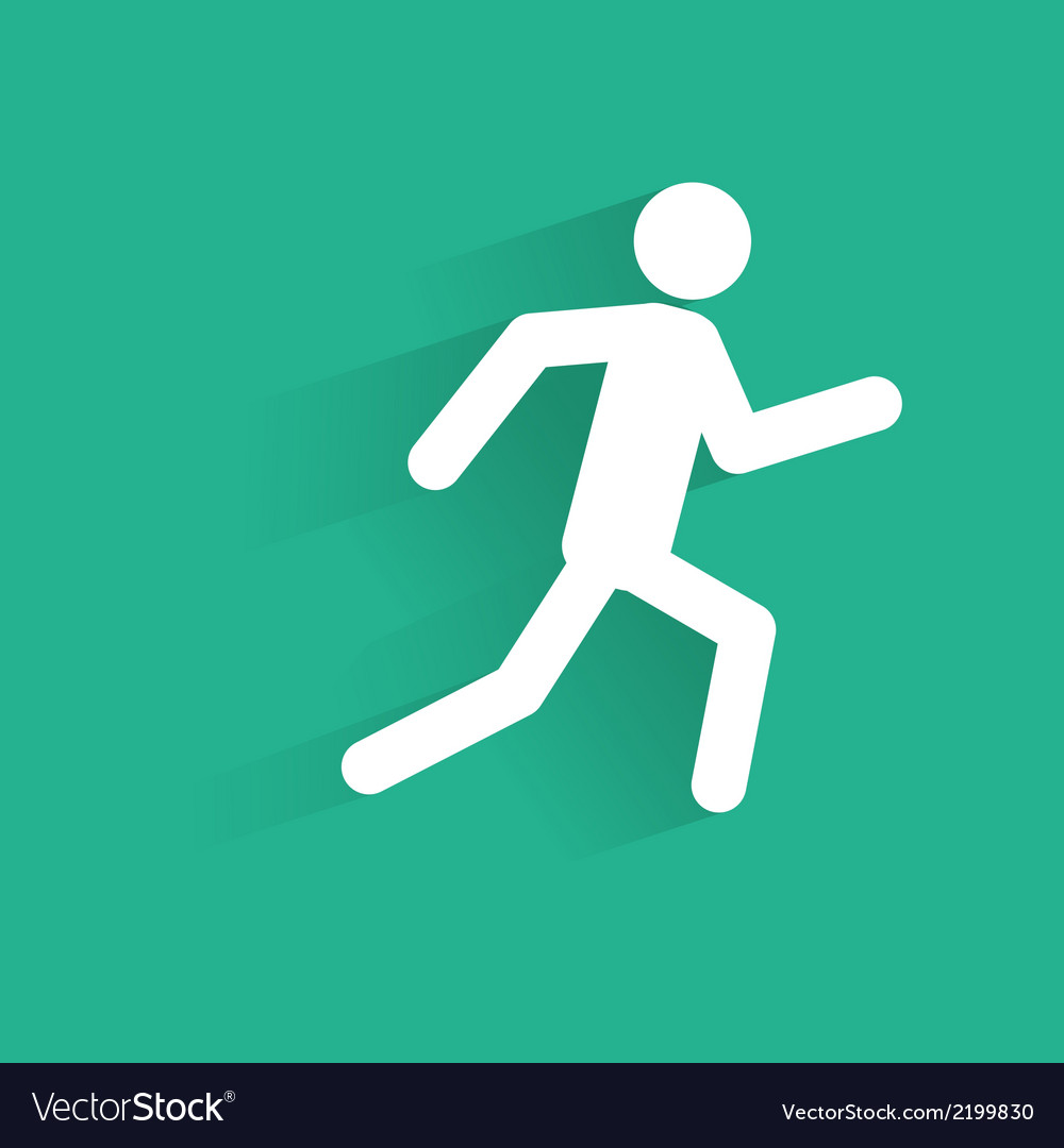 Running man icon silhouette with shadow vector | Price: 1 Credit (USD $1)