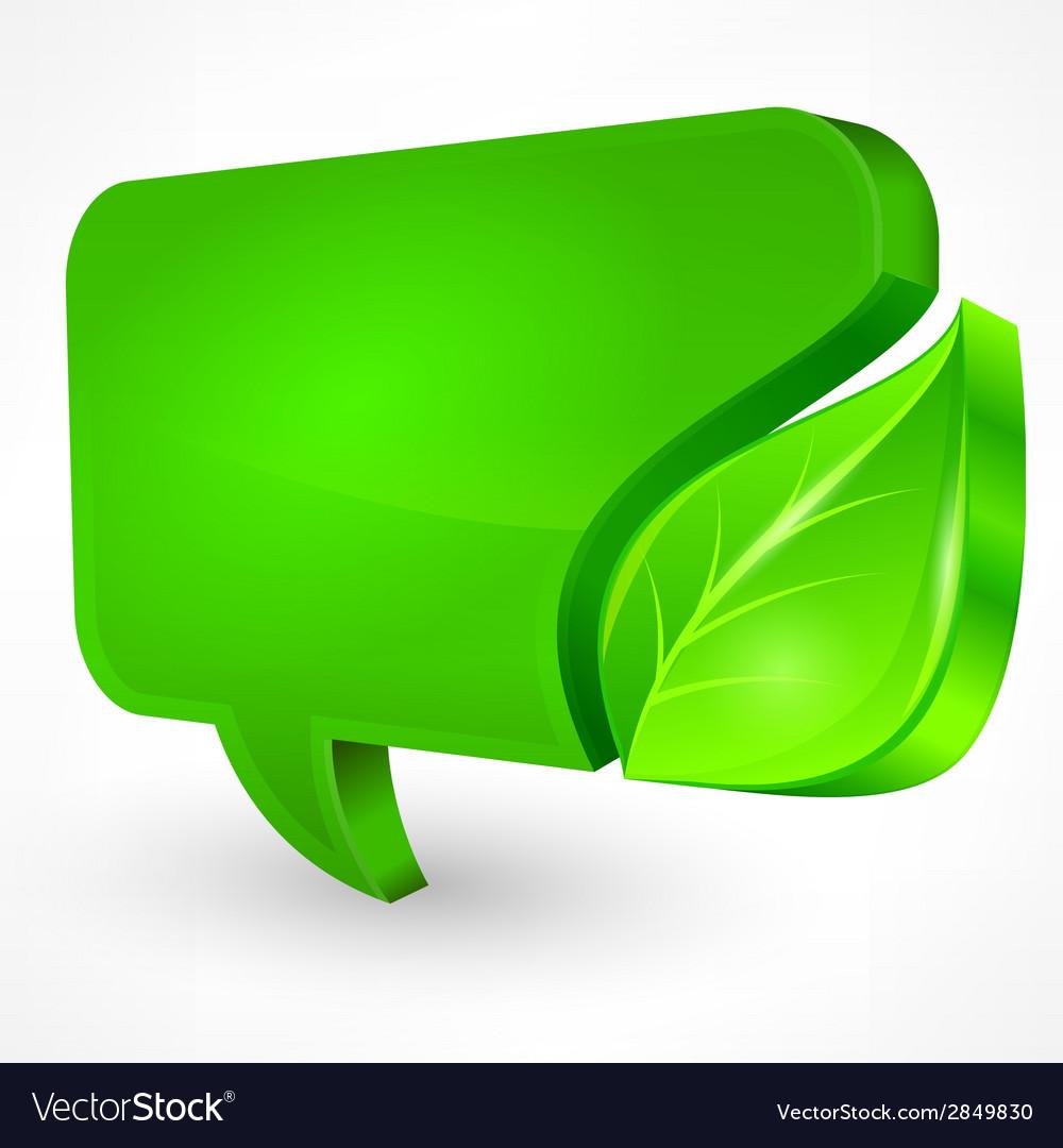 Speech green bubble on white vector