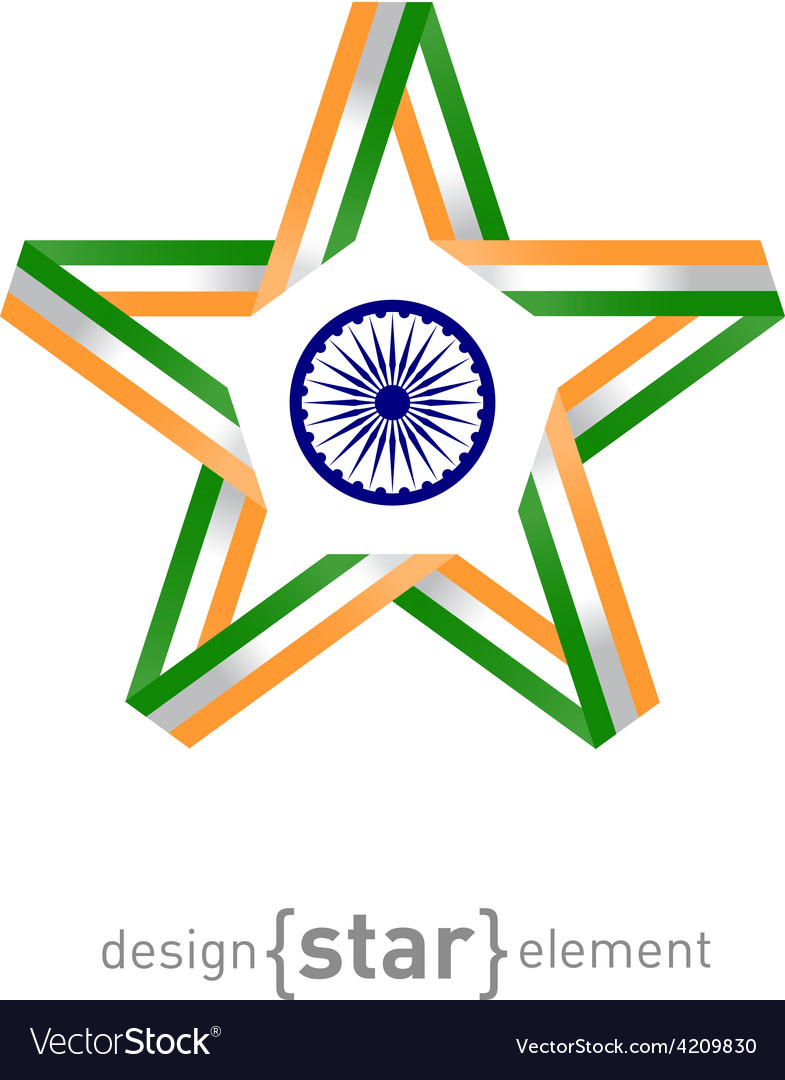 Star from ribbon with india flag colors and symbol vector | Price: 1 Credit (USD $1)