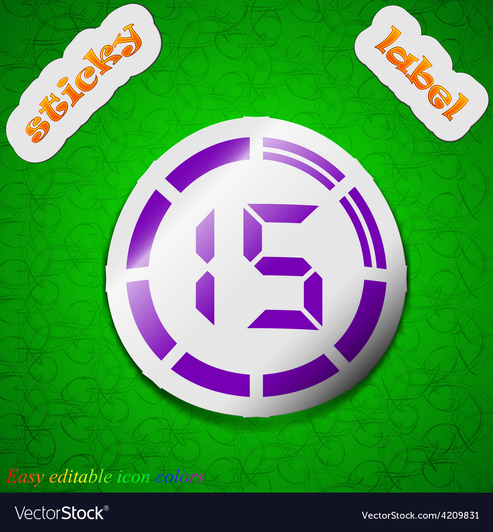 15 second stopwatch icon sign symbol chic colored vector | Price: 1 Credit (USD $1)