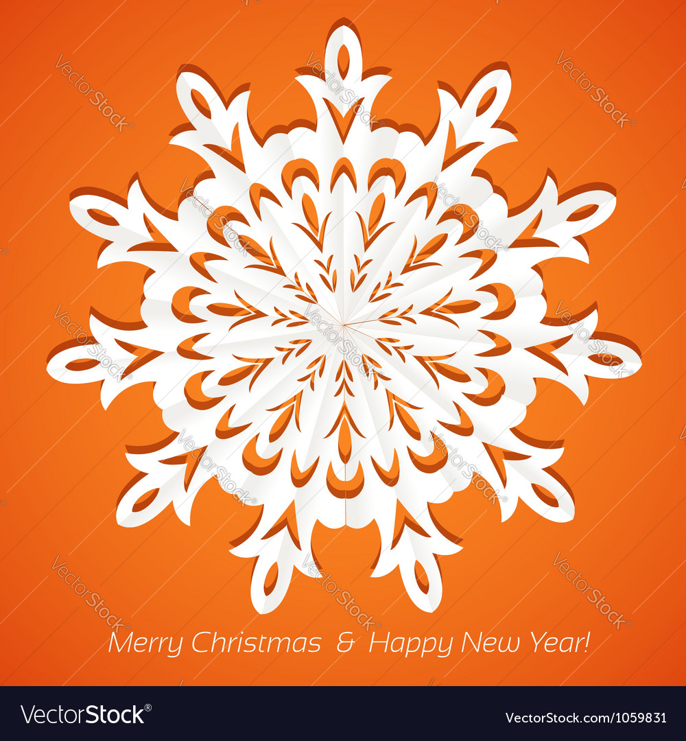 Applique snowflake christmas card on juicy orange vector | Price: 1 Credit (USD $1)