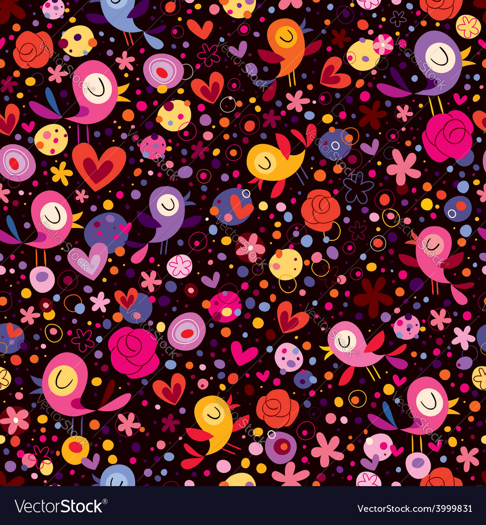 Birds flowers pattern vector | Price: 1 Credit (USD $1)