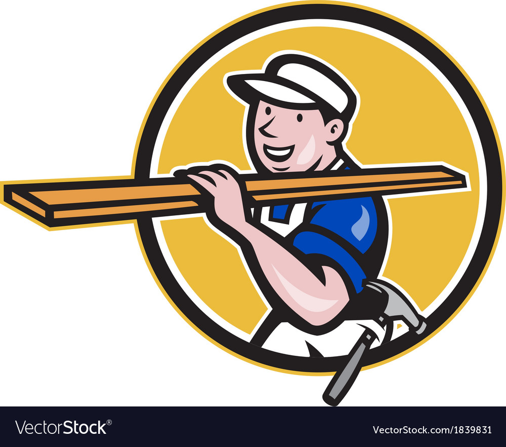 Carpenter worker carrying timber circle cartoon vector | Price: 1 Credit (USD $1)
