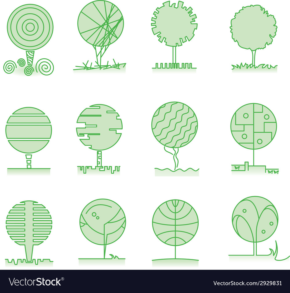 Collection of trees vector | Price: 1 Credit (USD $1)