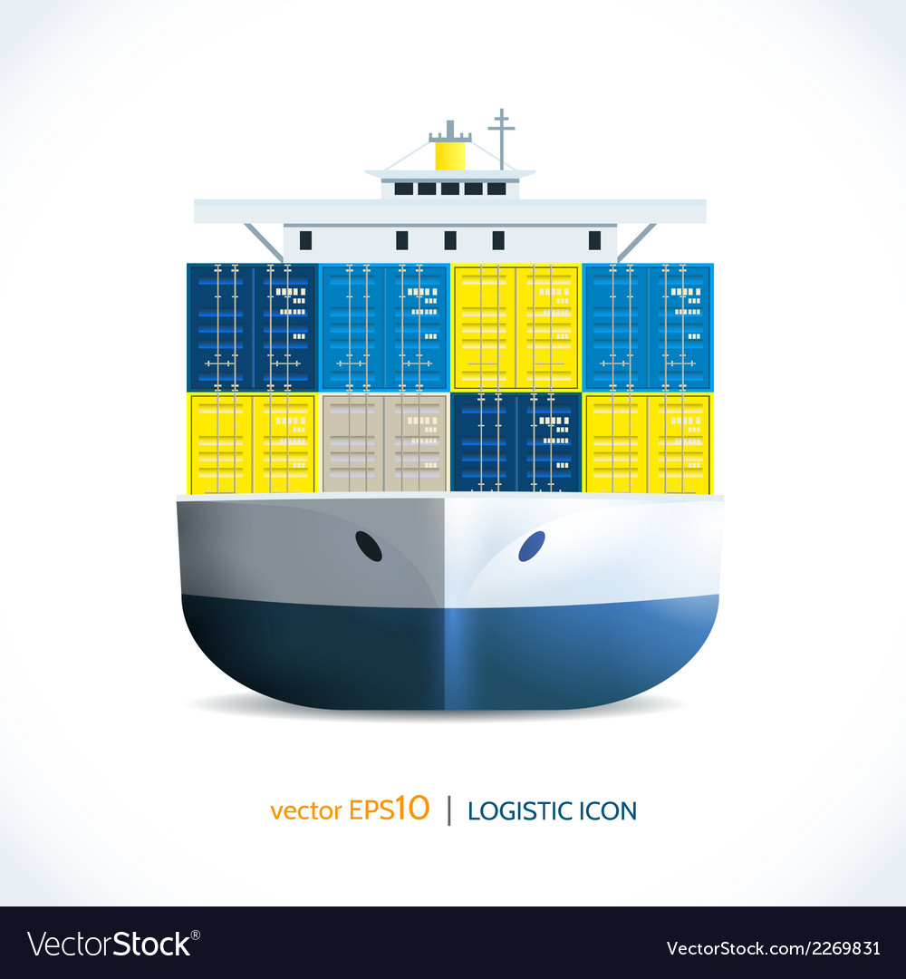 Logistic icon container ship vector | Price: 1 Credit (USD $1)