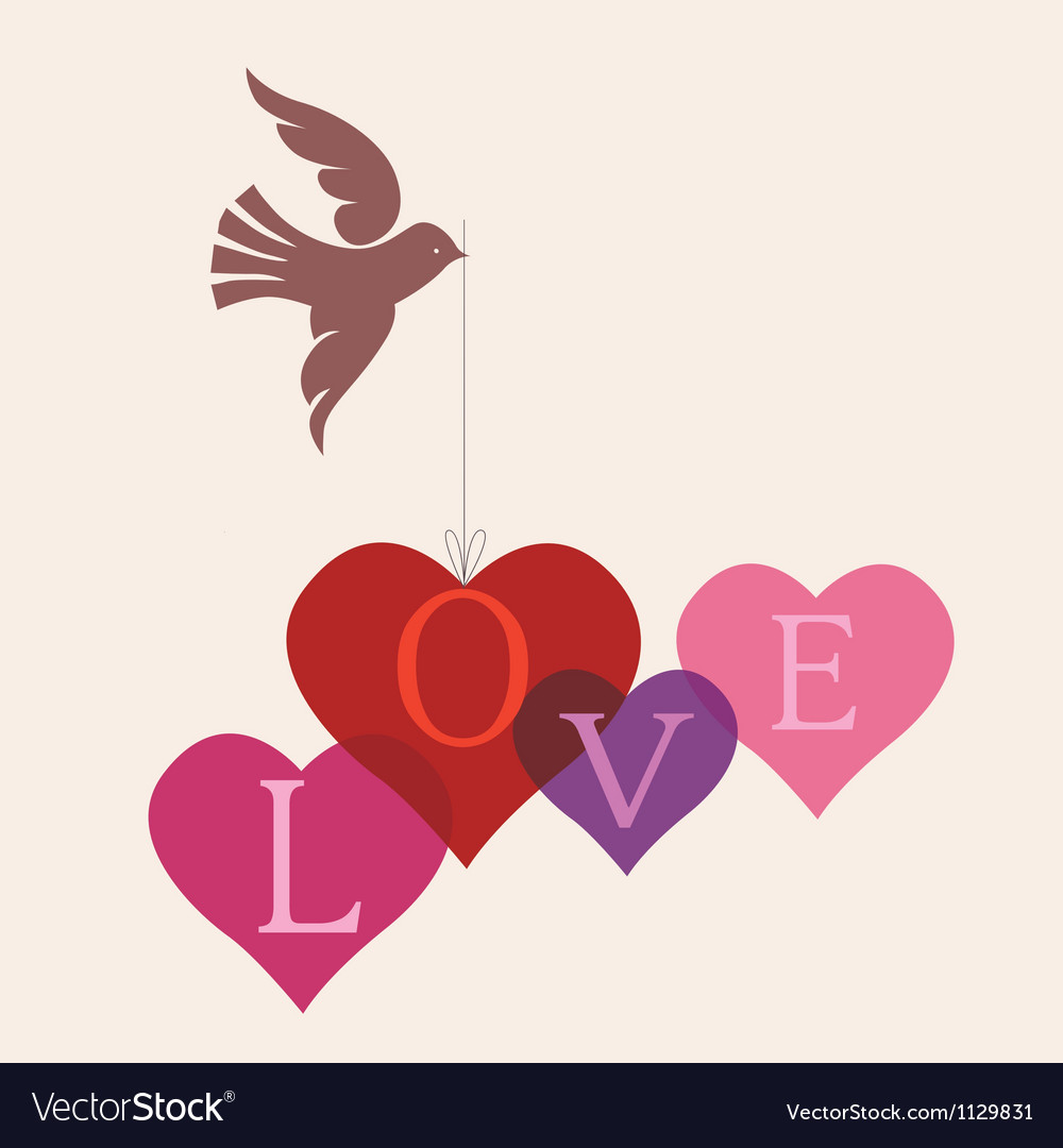 Love message card with dove vector | Price: 1 Credit (USD $1)