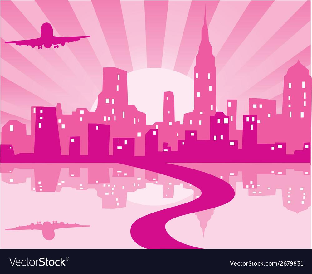 Pink city vector | Price: 1 Credit (USD $1)