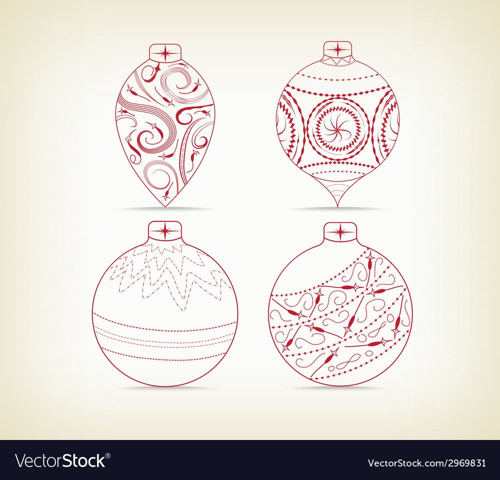 Set of christmas balls doodle for design vector | Price: 1 Credit (USD $1)