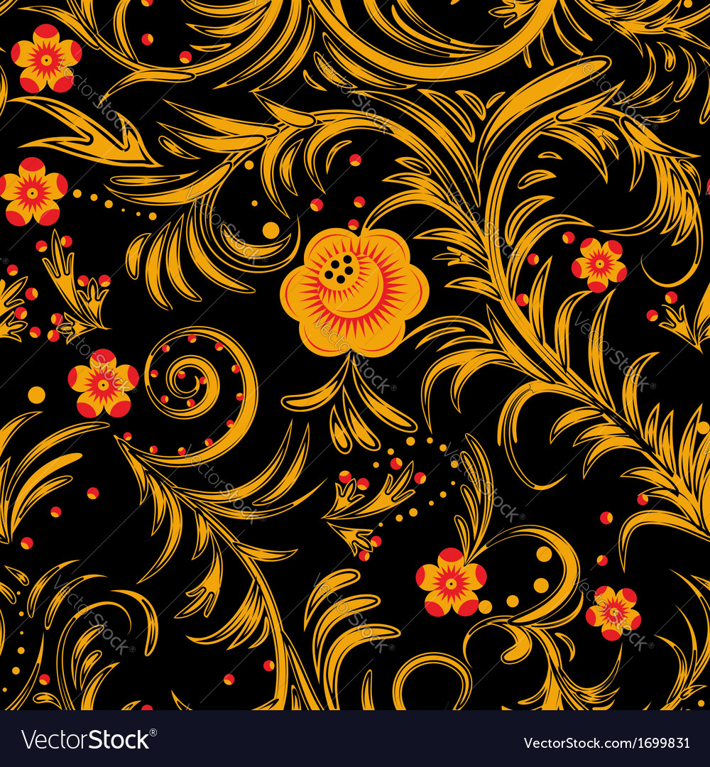 The traditional russian floral seamless background vector | Price: 1 Credit (USD $1)