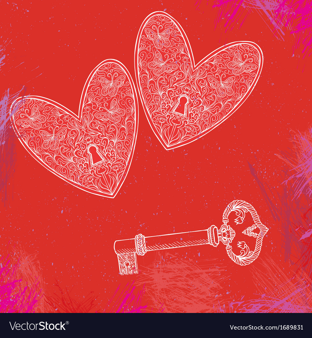 Two locked hearts and one key vector | Price: 1 Credit (USD $1)