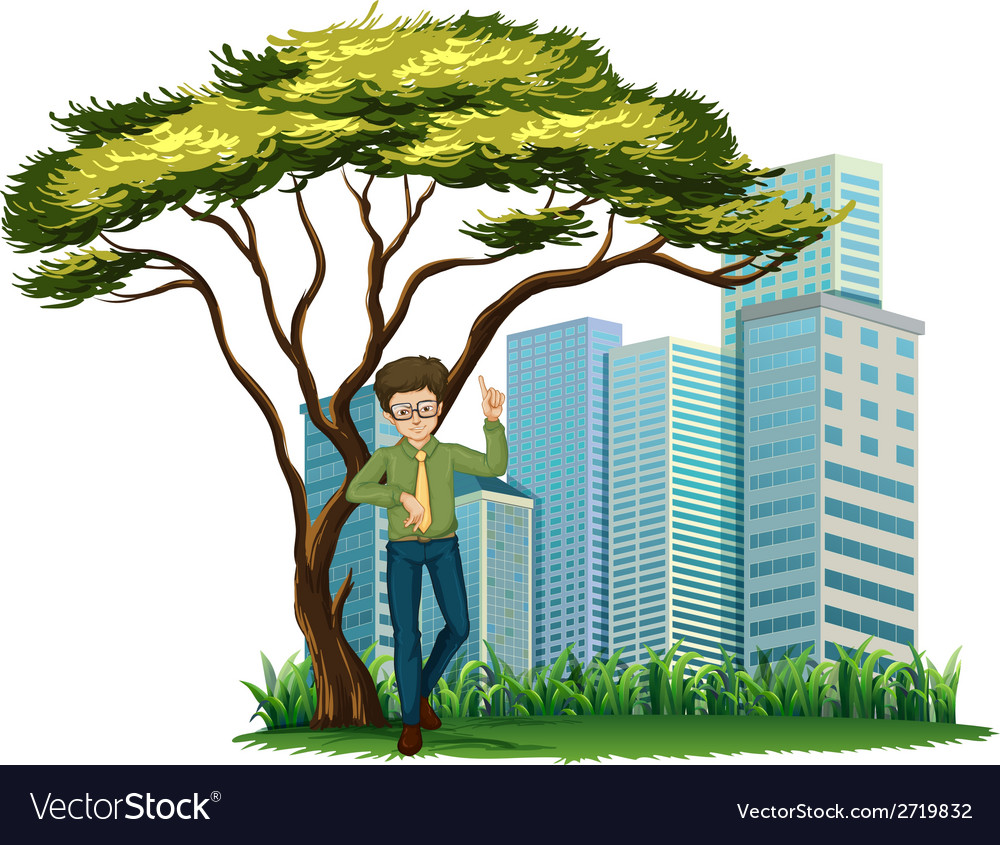 A man standing under the tree across the offices vector | Price: 1 Credit (USD $1)