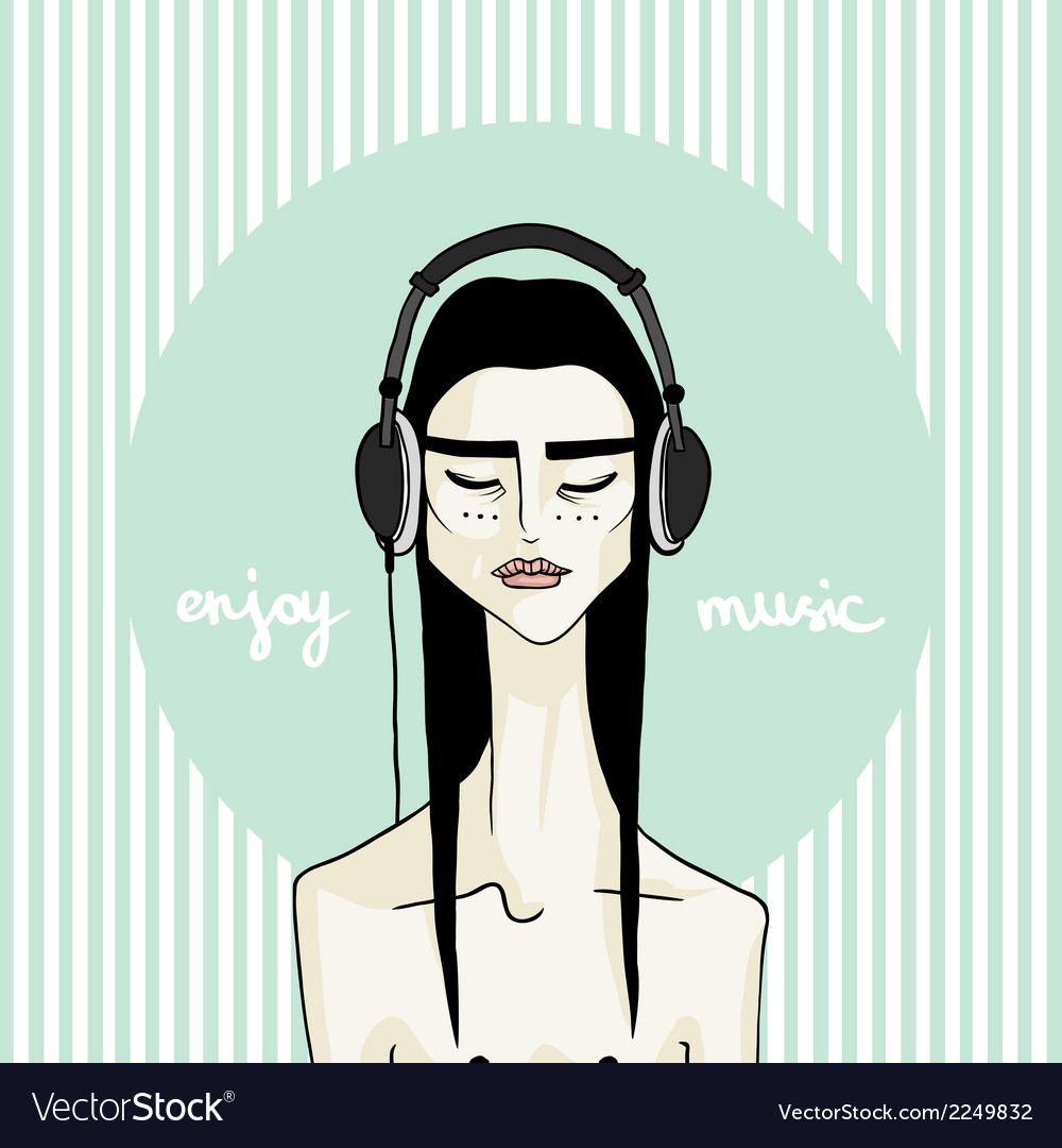 Asian girl with headphones vector | Price: 1 Credit (USD $1)