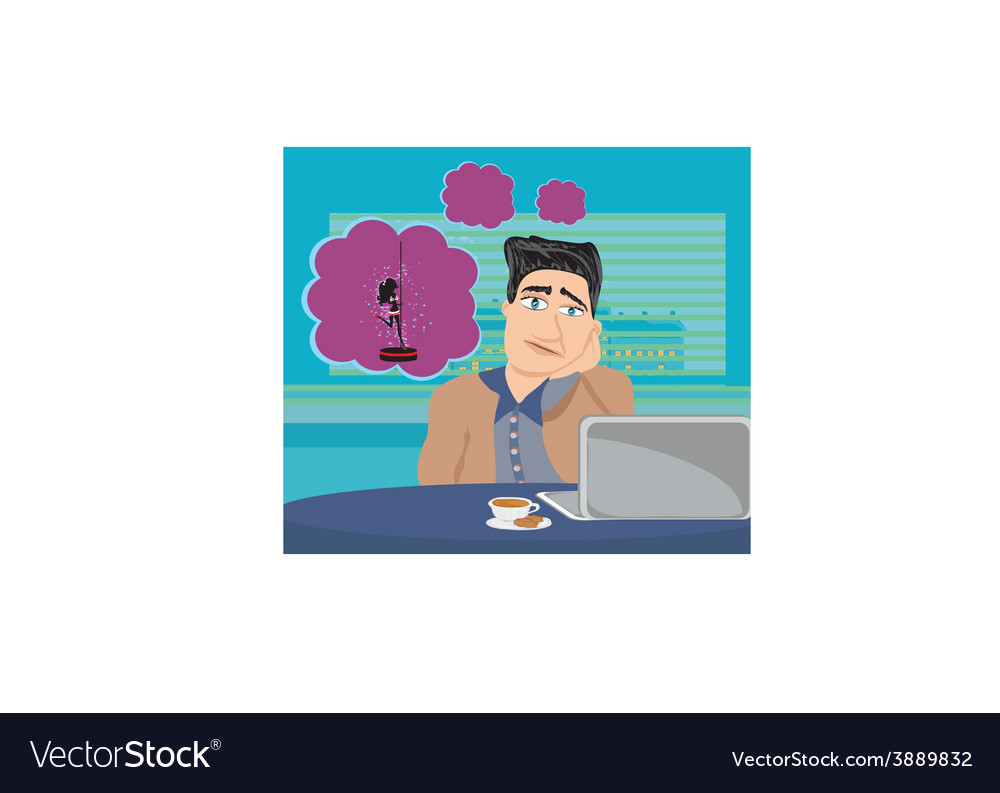 Businessman dreaming of a pole dancing vector | Price: 1 Credit (USD $1)