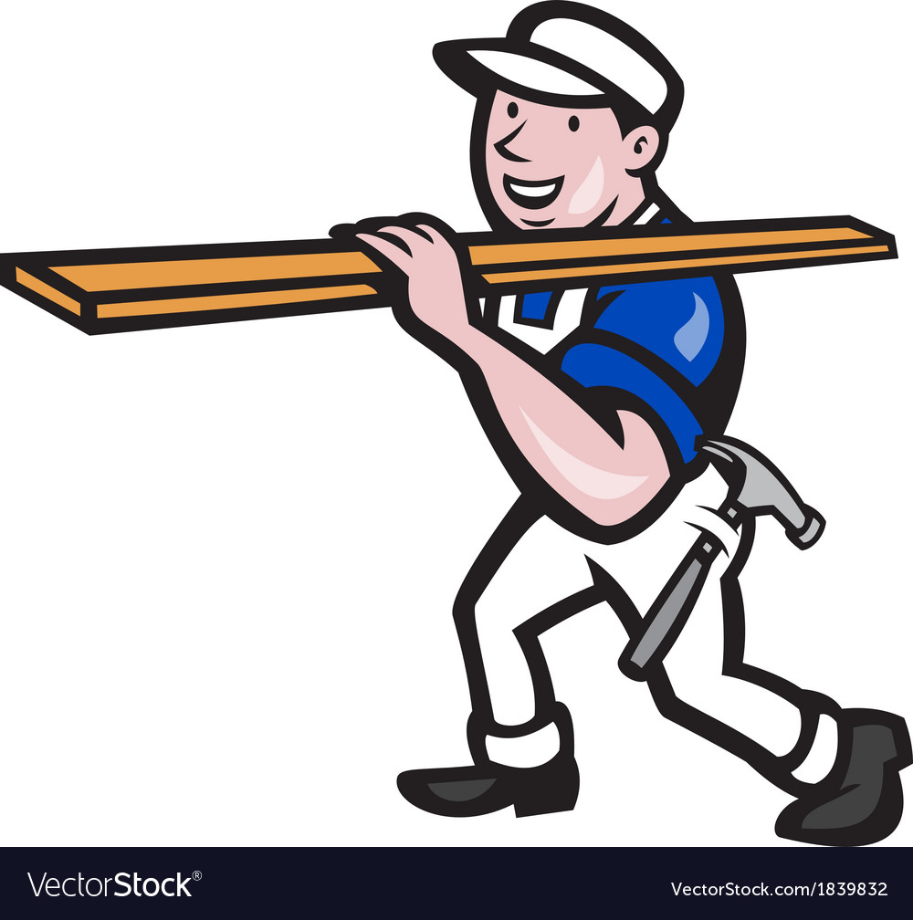 Carpenter worker carrying timber cartoon vector | Price: 1 Credit (USD $1)