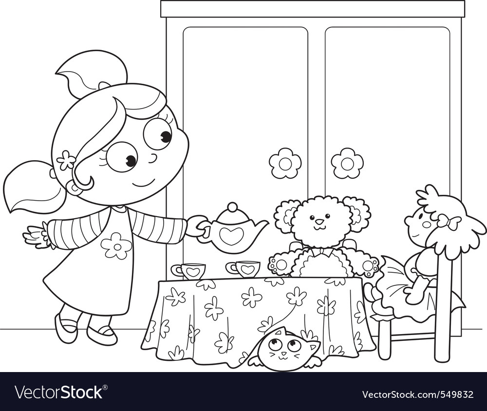 Cute young girl serving tea vector | Price: 1 Credit (USD $1)
