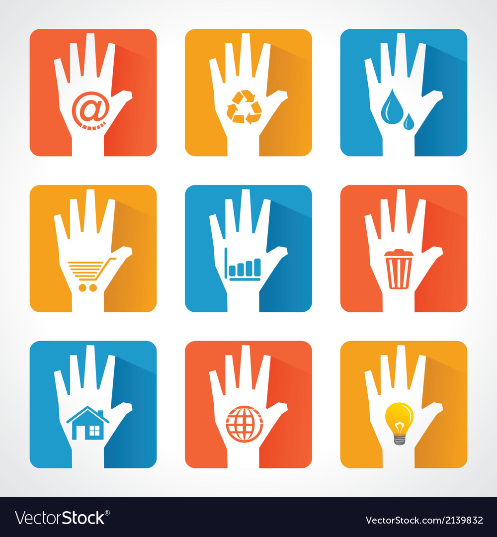 Different icons and design with helping hand vector | Price: 1 Credit (USD $1)