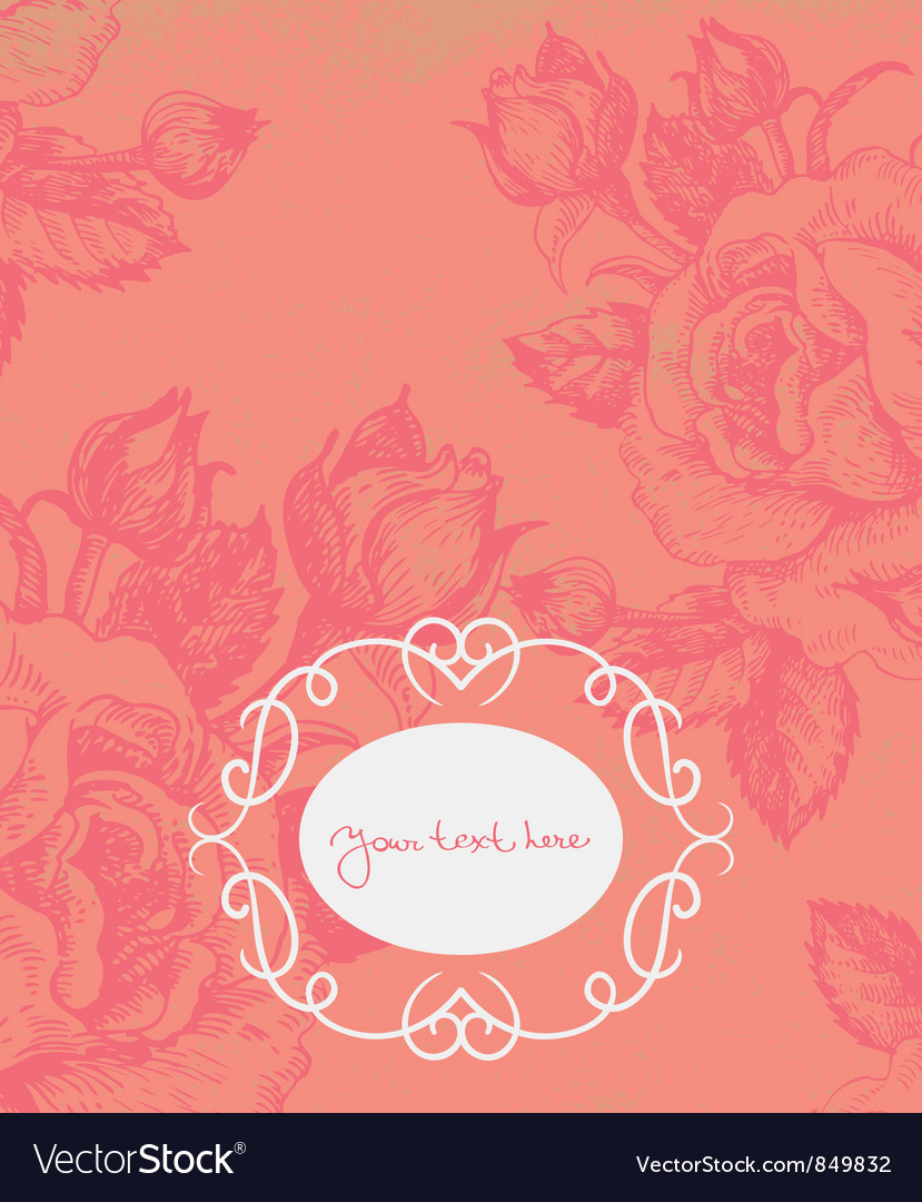 Floral background with vintage frame vector | Price: 1 Credit (USD $1)