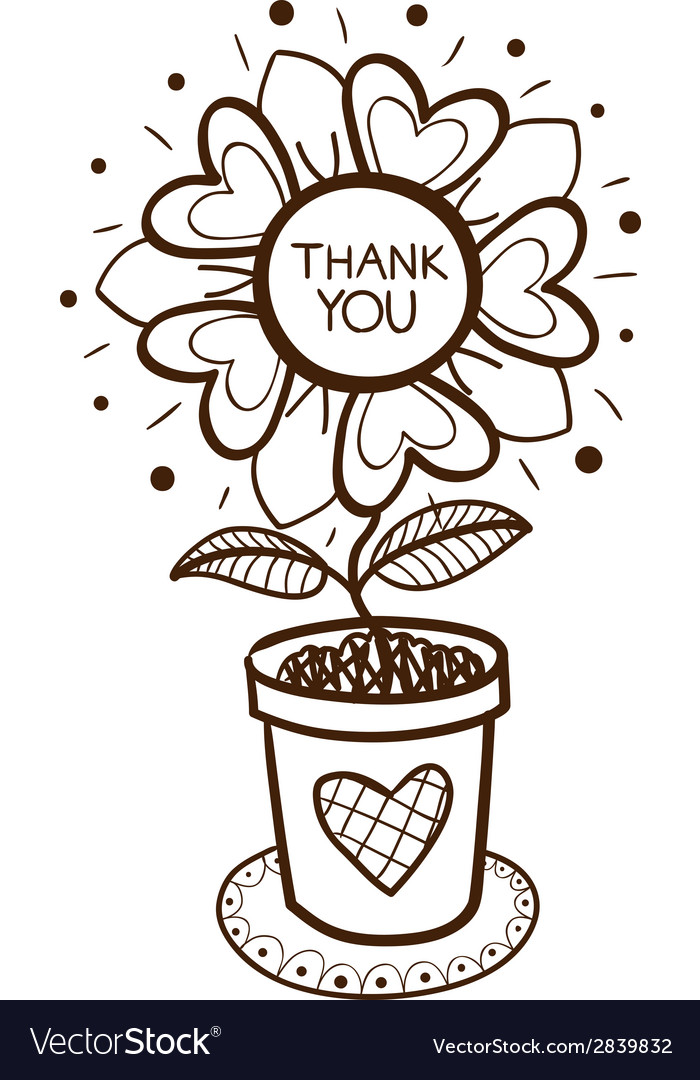 Flower in a pot with thank you text vector | Price: 1 Credit (USD $1)