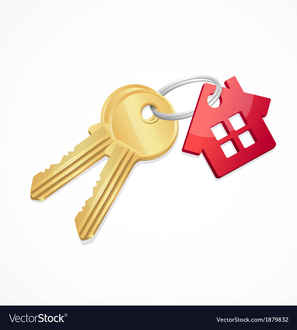 House keys with red key chain vector | Price: 1 Credit (USD $1)