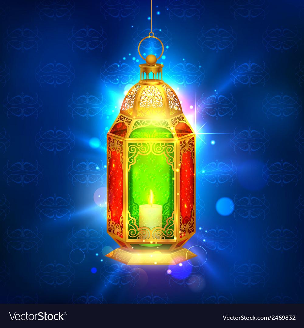 Illuminated lamp on ramadan kareem generous vector | Price: 1 Credit (USD $1)