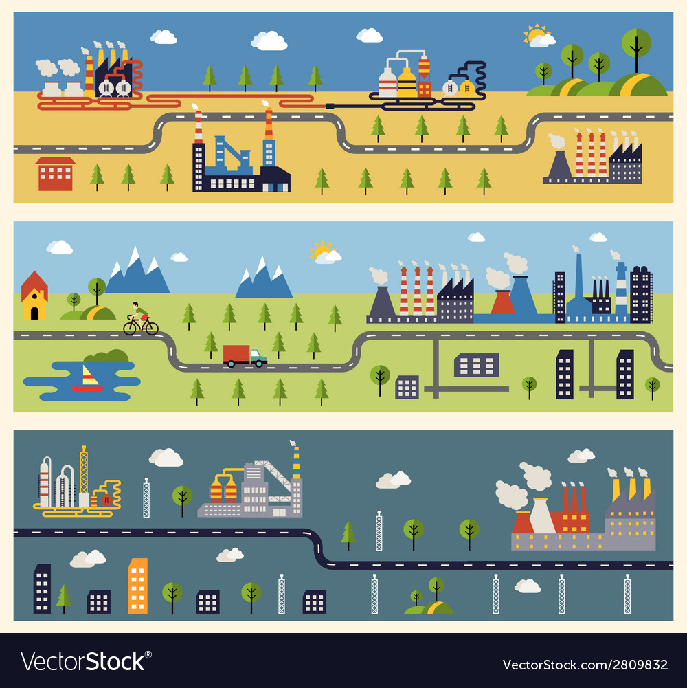 Industrial factories banners vector | Price: 1 Credit (USD $1)