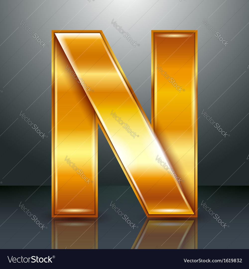 Letter metal gold ribbon - n vector | Price: 1 Credit (USD $1)
