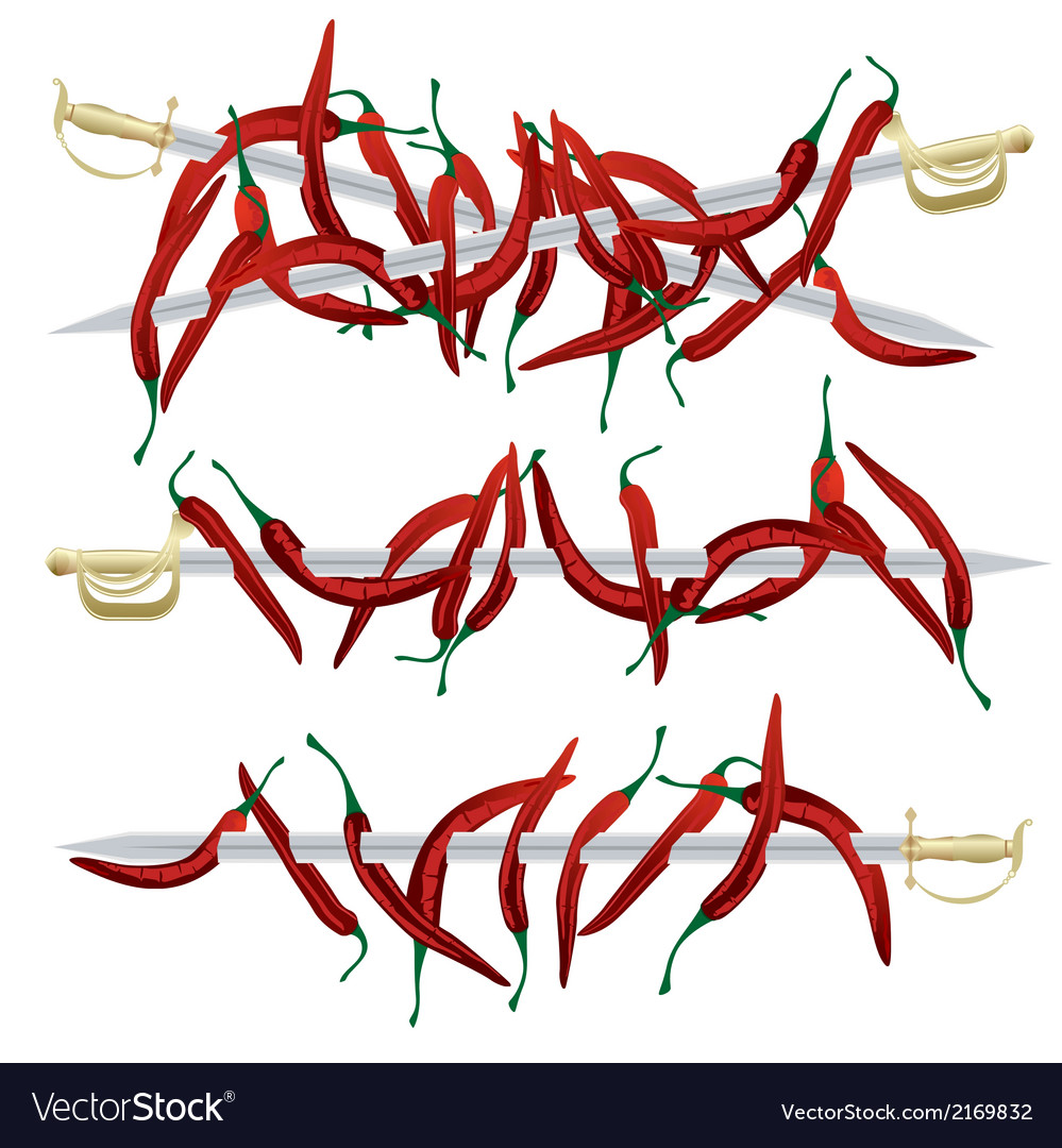 Red pepper and weapons vector | Price: 1 Credit (USD $1)