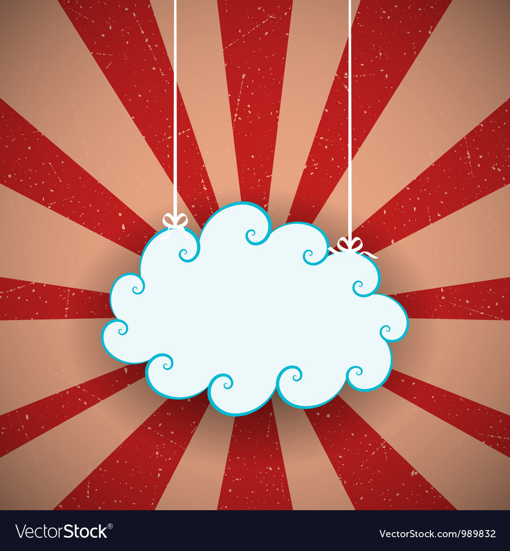 Retro cloud vector | Price: 1 Credit (USD $1)