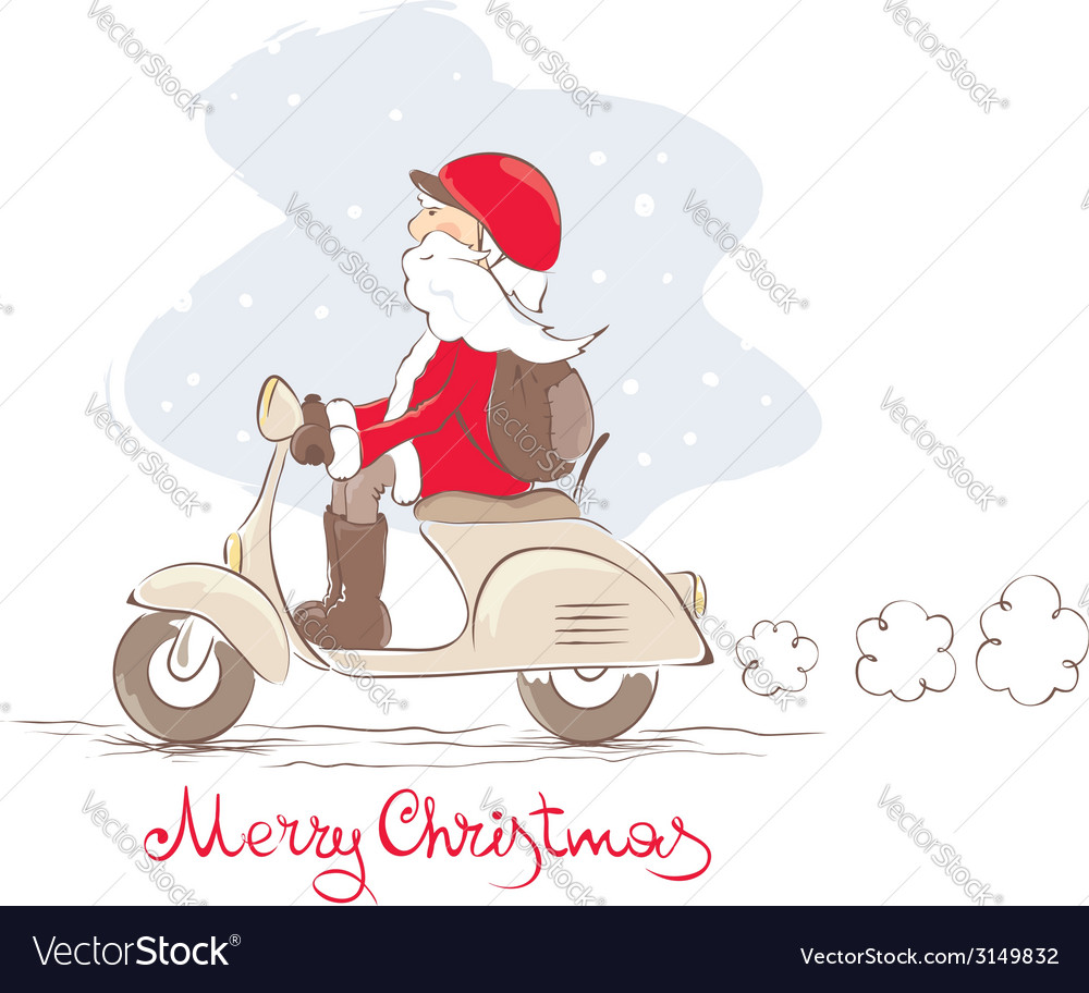 Santa on a scooter vector | Price: 1 Credit (USD $1)