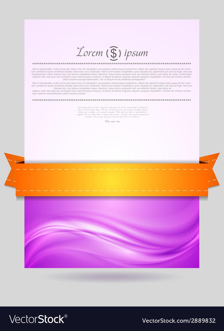 Wavy flyer design with orange ribbon vector | Price: 1 Credit (USD $1)